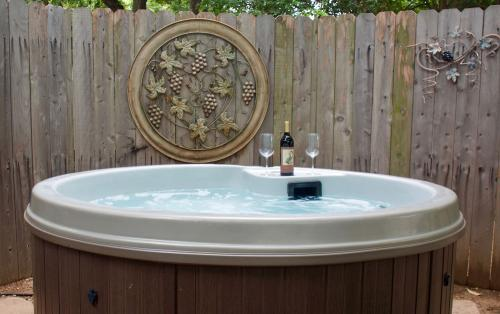 Relax in the private hot tub at the end of the day