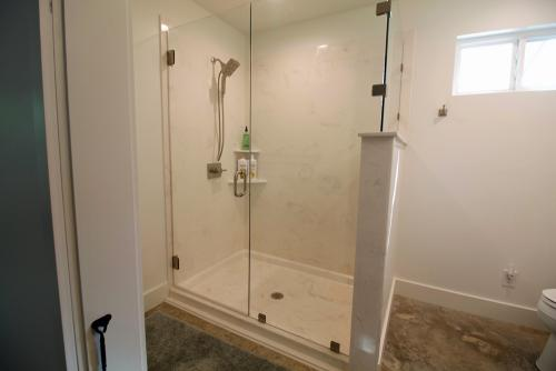 The beautiful oversize shower heats up quickly.